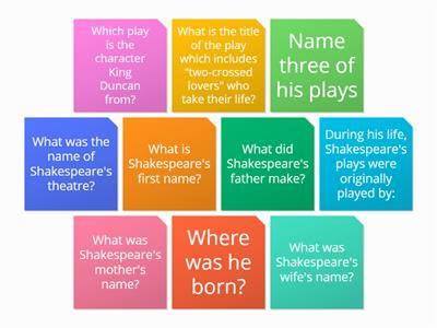 Wordwall Shakespeare quiz