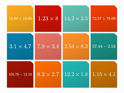 decimal multiplication addition subtraction