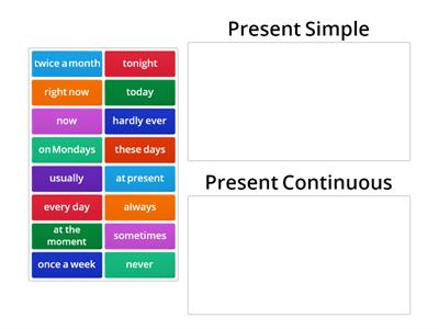 Present Simple / Present Continuous - Time xpressions