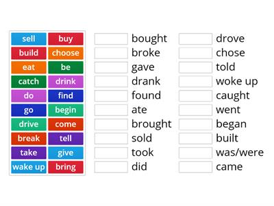 Irregular Verbs - infinitive to past simple