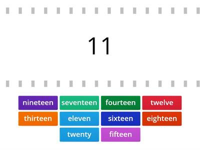 Numbers in english  11 to 20
