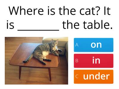 Prepositions on in under