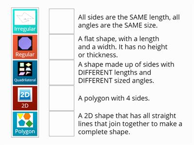2D Shape - Key Vocab Match Up