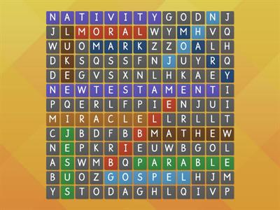 New Testament wordsearch (13 words)