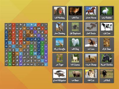 Animals in Arabic. Search for the name of each Animal In Arabic in the word search