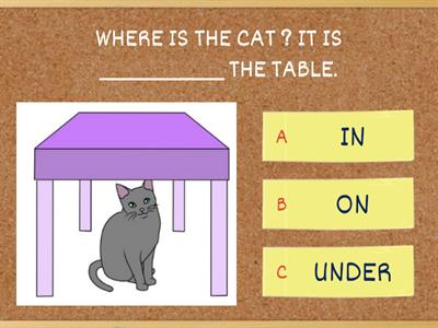 ON IN UNDER - PREPOSITIONS