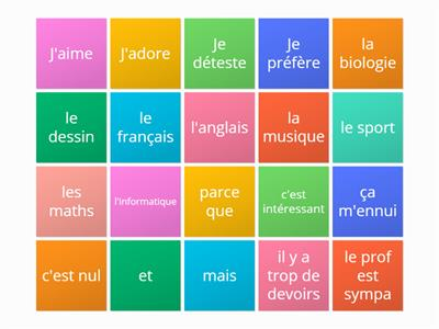 MFL YR 9 French - Unit 5 Lesson 2 - Sentence maker