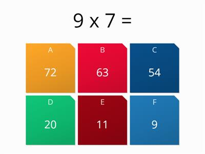 Times tables quiz (6 and above) KS2