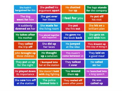 Advanced Phrasal Verbs Flip Cards