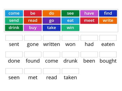 Irregular verbs 3rd form Evolution kl6