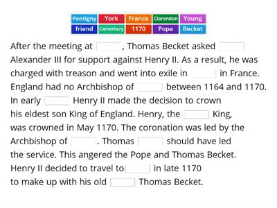 Henry II and Thomas Becket - 1164 to 1170