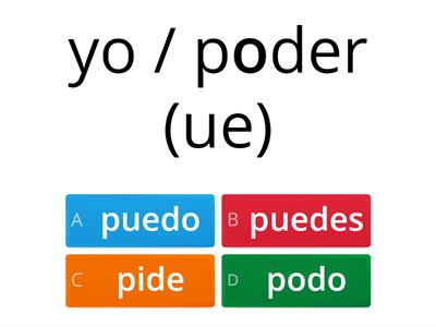 Spanish UE, IE & I Verbs Quiz Game