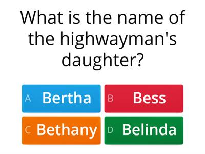 Highwayman Word wall quiz
