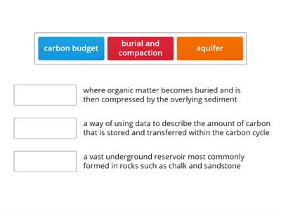 Water and carbon cycles key terms