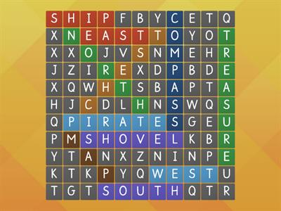 Where is the lost treasure? Wordsearch