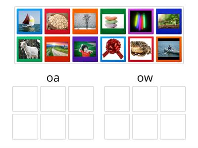 'oa' or 'ow' picture sort