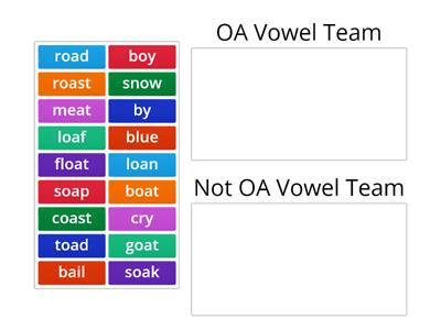 OA Vowel Team Word Sort