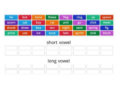 short/long vowel sorting