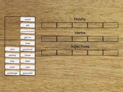 Divide words into nouns, verbs and adjectives