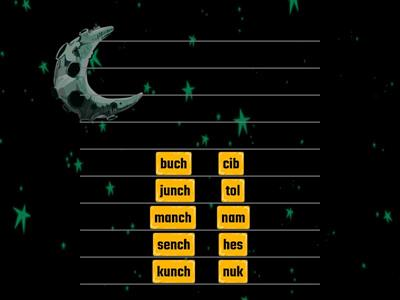 Alien Digraphs ch, tch in suffix Words (Read, then combine to make compound words)