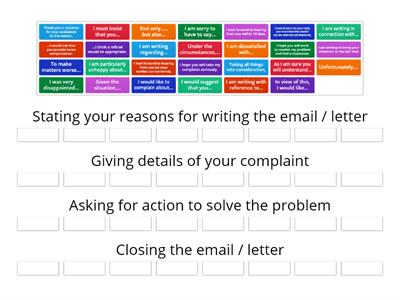 Complaints Letter Group Sort