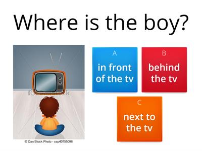 Prepositions - in front of/next to/behind