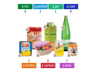 NEF 4th eddition Elementary 9B VOCABULARY food containers