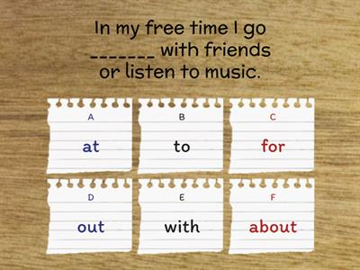 Free time. Preposition