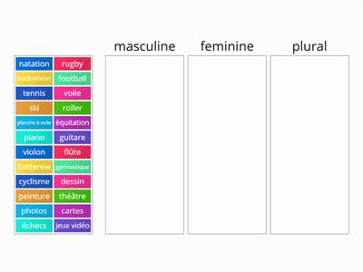 Activities and sport: feminine-masculine-plural