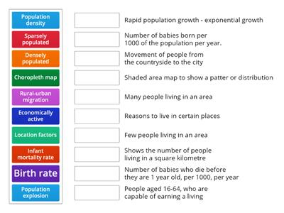 Match up Population Key Terms and definitions