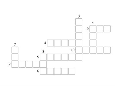 Kid's Box 4 Unit 8 Vocabulary Crossword