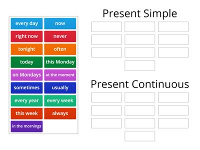 Sorting: Present Simple and Continuous - time expressions