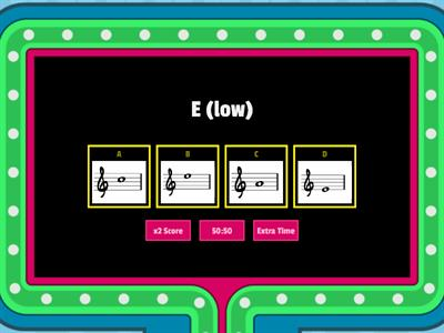 Treble clef notes (basic) - gameshow