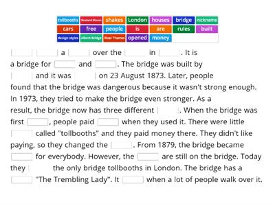 Read about a bridge - fill in the gaps
