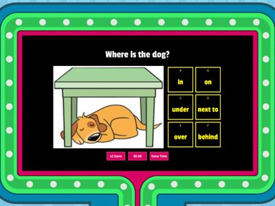 Showquiz Prepositions - in on under next to over