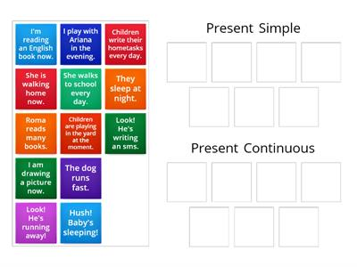 Verbs Present Simple - Continuous