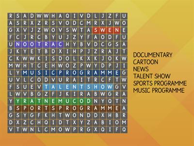 Find the names of TV programmes