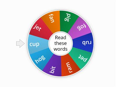 Spin the wheel - all vowel sounds