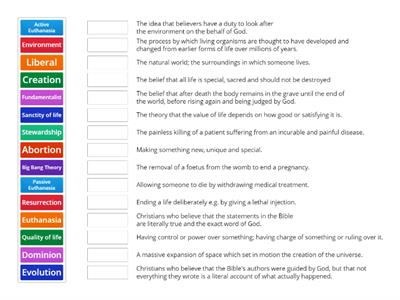 AQA 9-1 GCSE Religion and Life Keywords