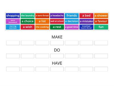 Collocations MAKE,DO,HAVE