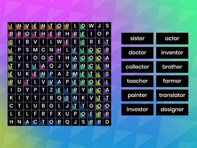 Suffix 'er' and 'or' wordsearch