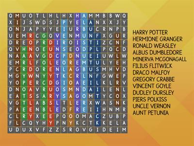 Harry Potter Main Characters Wordsearch