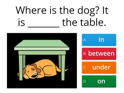 Prepositions of place (behind, in front, under, next to, between etc)