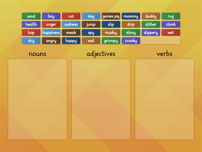 Nouns, Adjectives and Verbs Word Sort