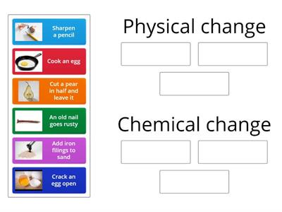Do these actions produce a physical change or a chemical change?  Classify them.