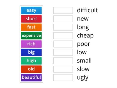 basic adjectives (find the opposite)