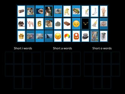 "Sort the pictures by short vowel sounds  ""i"" ""o"" ""a"""