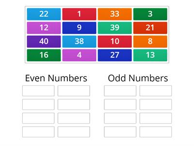 Sorting odd and even numbers game