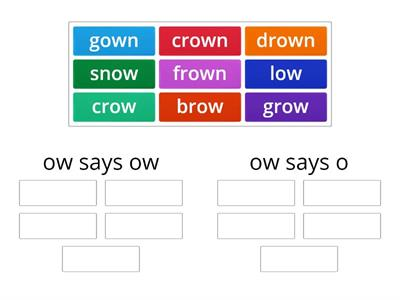 ow sound words sort