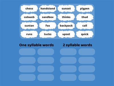 One Syllable and Two Syllable Words